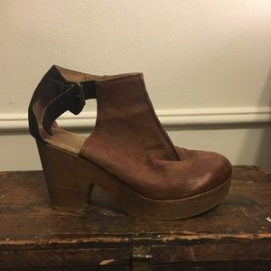 Free People Brown Wood Platform Boots Size 8